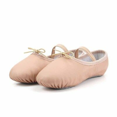 Split Sole Genuine Leather Ballet Dance Shoes Pink Single Strap Free Shiping#141