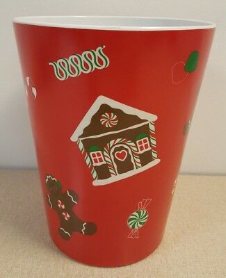Christmas Gingerbread House Man Candy Canes Gumdrops Waste Basket Trash Can
