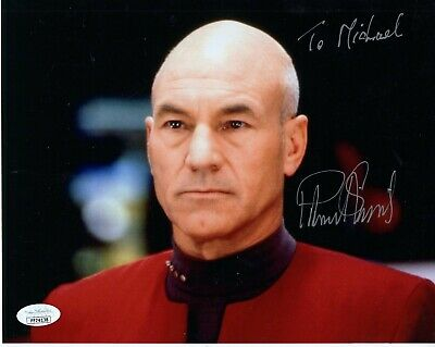 PATRICK STEWART HAND SIGNED 8x10 COLOR PHOTO     STAR TREK     TO MICHAEL    JSA