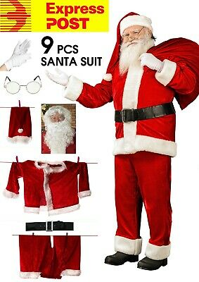Crimson Plush Adult Santa Suit XL Velvet Claus Costume Fleece Men's Plus Size