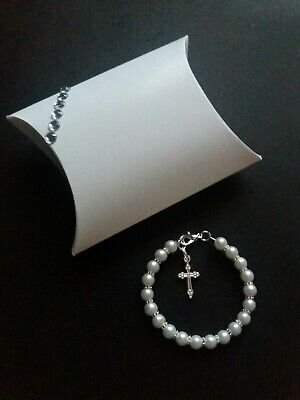Baby White Pearl Christening Bracelet with Cross + Gift Box