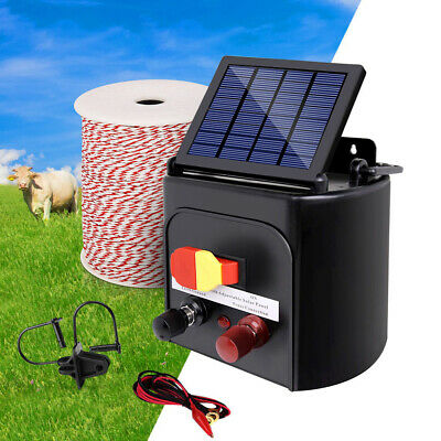 Electric Fence Energiser Solar Powered Unit Charger Farm Polywire Waterproof 5KM