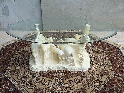 Superb Coffee Table Pattern Horses Signed Pascal Fairytale