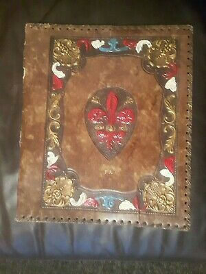 Vintage Hand Tooled Leather A4 Size Book; Bible; Magazine Holder - Gold Initials