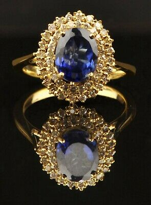 14KT Solid Yellow Gold 1.90Ct Natural Blue Tanzanite EGL Certified Diamond Ring