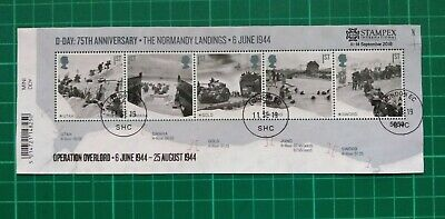 2019 D-Day 75th Anniv M/S Opereration Overlord Stampex Overprint USED no.5650