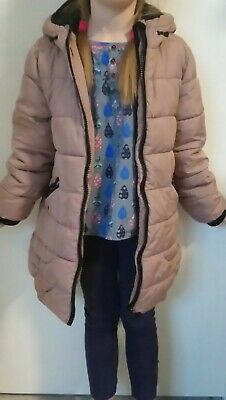 Next Girls Dusky Pink Hooded Lined Winter Jacket! Age 7-8! Grab A Bargain!