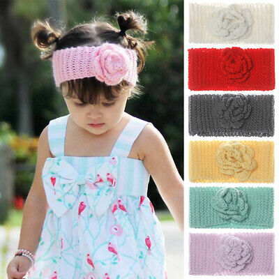 HOT Toddler Girls Turban Knitted Flower Headband Hair Band Accessories Headwear*