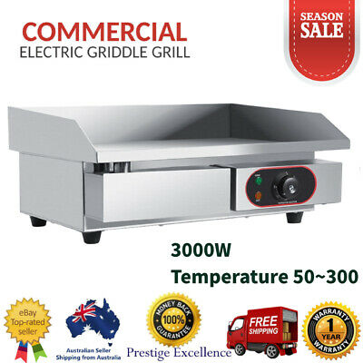 3KW Stainless Steel Electric Griddle Grill Countertop Hot Plate Commercial BBQ !