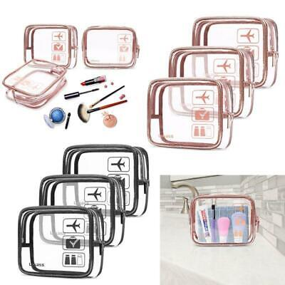 3Pcs Travel Luggage Pouch Carry On Clear Airport Airline Compliant Makeup Bags t