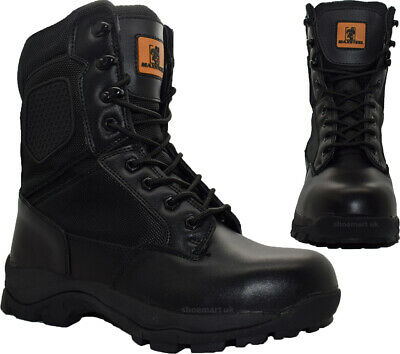 Mens Work Safety Boots Police Army Military Combat Steel Toe Cap Work Boots Shoe