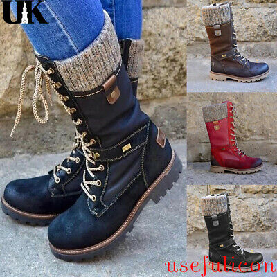 Womens Lace Up Mid Calf Outdoor Boots Knit Combat Non-slip Hiking Snow Shoes 4-7