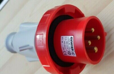32a IP67 Red 4 Pin 3P+E Industrial Power Plug - Used in good condition Gewiss