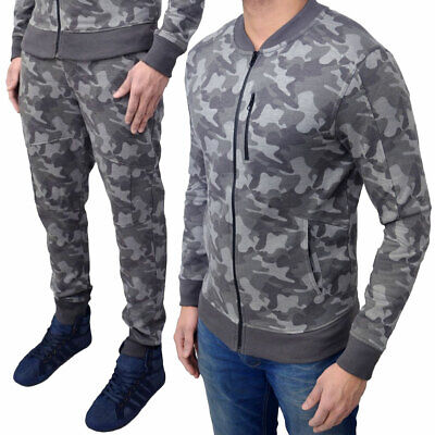 Camouflage Print Tracksuit Top Bottoms Skinny Fit Joggers Full Set  Mens Size