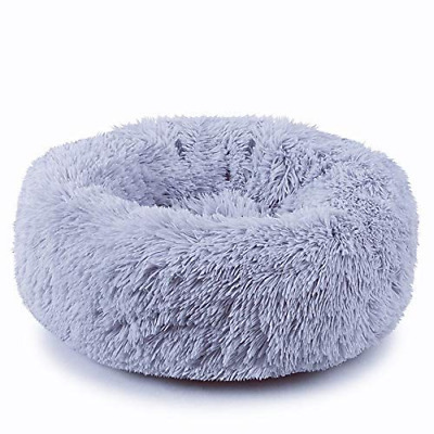 Plush Donut Pet Bed,Dog Cat Round Warm Cuddler Kennel Soft Puppy Sofa, Cushion