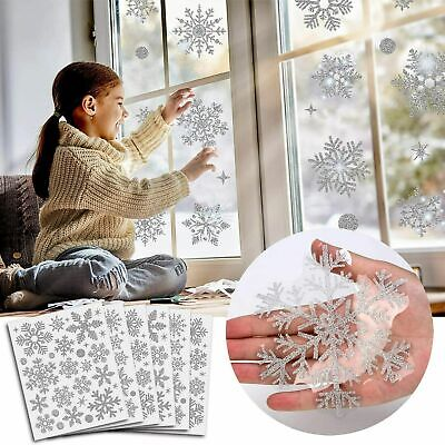 80pcs Reusable Christmas Window Snowflake Clings Stickers Decal Decorations UK