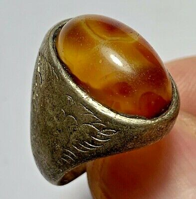 ANCIENT ROMAN SILVER RING INTAGLIO WITH RARE STONE 10.2gr 30mm (inner 19mm)