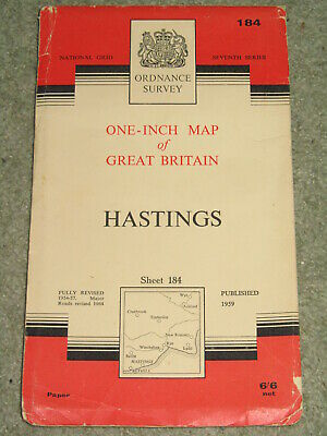 """OS Ordnance Survey 1"""" Seventh Series; Sheet 184 Hastings - on paper"""