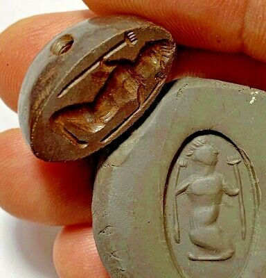 INTACT BACTRIA AGED STONE BEAD SEAL CIRCA 100 BC 12gr 27mm