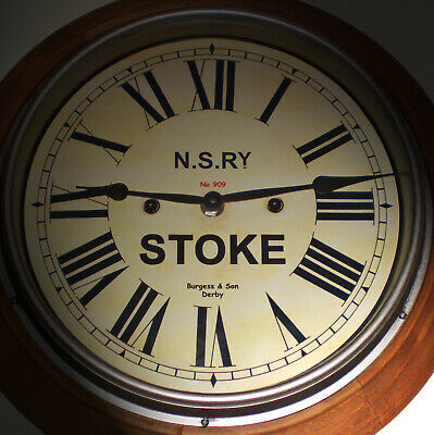 North Staffordshire Railway NSR Victorian Style Wooden Clock, Stoke Station