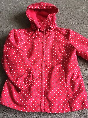 Girls Red & White Hooded Zip Up Spotty Coat Mac Jacket Age 5-6 Years By Tu