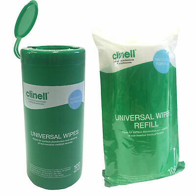 Clinell Universal Surface Disinfection Medical Cleaning 100 Wipes Tub & Refill