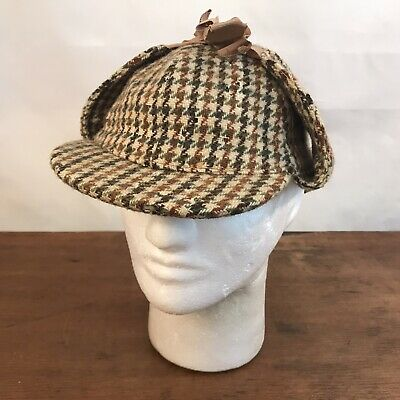 Dunn & Co Great Britain Houndstooth Wool Paperboy Newsie Hat Ear Flaps Small