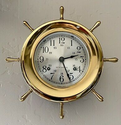 Vintage Seth Thomas Helmsman nautical ships bell clock Made in USA & WOOD BASE!!
