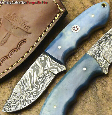 Handmade Damascus Custom Camel Bone Small Skinning Mini Hunting Caping-Knife