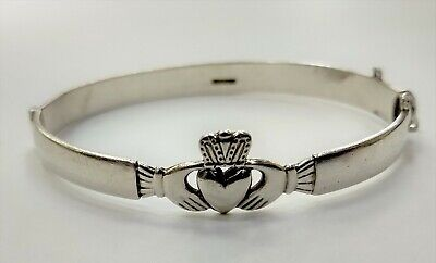 Vintage Sterling Silver Claddagh Bangle Made in Ireland 925