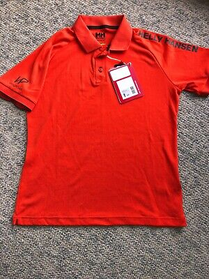 NEW Helly Hansen Men's HP Ocean Polo Shirt Men's Size Small Orange Spell Out NWT