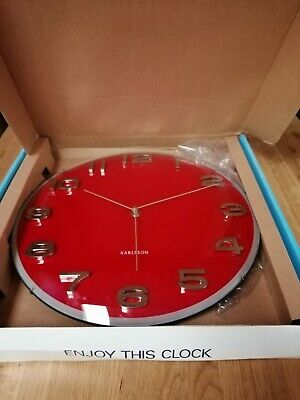 Karlsson Wall Clock, Vintage Dome in Red