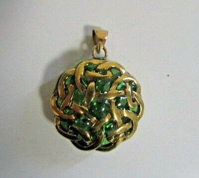 Celtic Weave-Bronze/Medieval/Green Enameling/Gold/Irish/Pendant/Jewelry