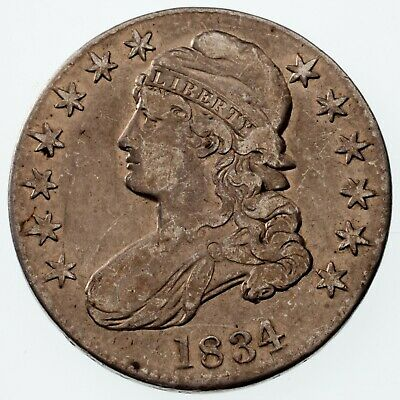 1834 50C Bust Half Dollar in Fine Condition, Light Gray Color, Nice Detail