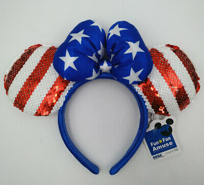 Disney Park Mickey New Sequined Minnie Mouse Ears USA American Flag Bow Headband