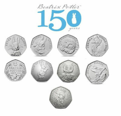 Beatrix Potter 50p Coins Puddle-Duck, Peter Rabbit,Tom Kitten,and more.