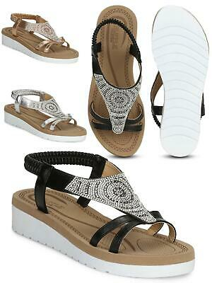 Womens Ladies Girls Branded Low Wedge Vegan Leather Elastic Sandals Shoes Size