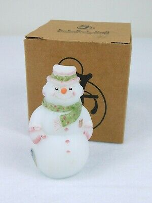 Fenton Glass Snowman Opal Satin Pink & Green Christmas Figurine Hand Painted