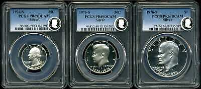 1976-S Silver Proof Set of 3 Quarter, Half & Dollar PR69DCAM PCGS 84362591