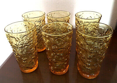 Anchor Hocking Milano Honey Gold Vintage 12 oz Tumblers Set Of 6 Yellow Glasses