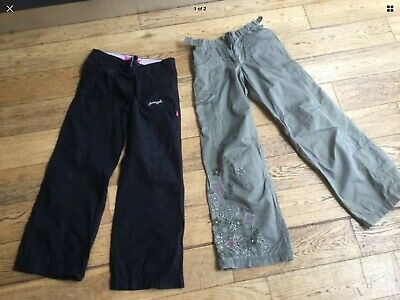 Girls Aged 10 casual green patterned & black trousers, Pineapple and M&S