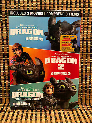 How to Train Your Dragon Trilogy: Hidden World (3-Disc DVD, 2019)+Slipcover