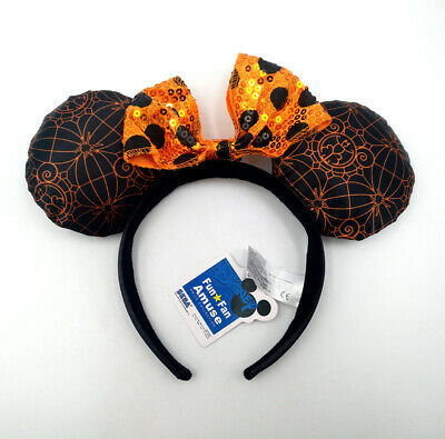Disney Park Leopard Grain Minnie Mouse Ears Bow Sequin Mickey Gifts Cos Headband