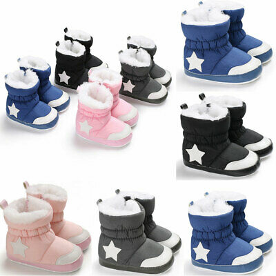 Baby Girls Boy Snow Boots Winter Booties Infant Toddler Newborn Crib Shoes 0-18M