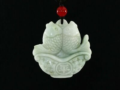 "1.8""China Certify Grade A Nature Hisui Jadeite Jade Wealth Double Fish Necklace"