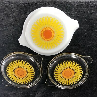 Lot of 3 Pyrex Sunflower Replacement Lids Two 470C One 20C Clear and Milk Glass