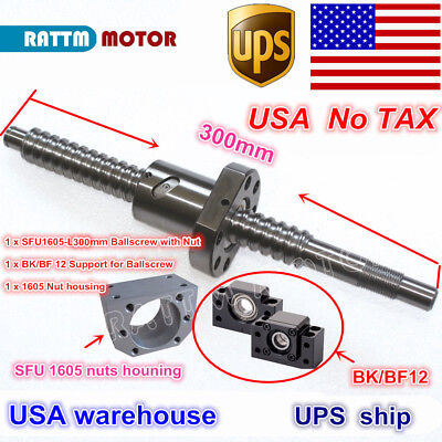 【US】 SFU1605 L300mm Rolled Ball Screw C7 with nut & BK/BF12 end machined CNC Kit