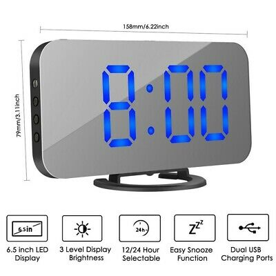 Mirror Snooze Digital Alarm Clock LED Display Portable USB/Battery Operated Gift