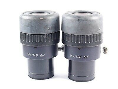 LEICA 16x/14B 30mm Focusable Microscope Eyepieces / Ocular Pair