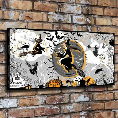 """16""""x34""""Halloween Witch HD Canvas print Painting Home Decor Picture Room Wall art"""